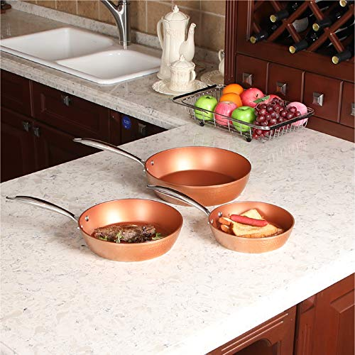 Kitchen Academy Red Copper Ceramic 3 Piece Nonstick Induction Cookware Set - 8/9.5/11 inch ()