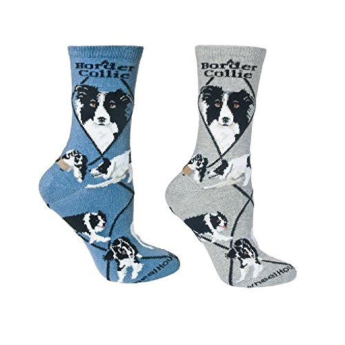 (Border Collie Dog Women's Novelty Socks in Grey and Blue - Set of 2)