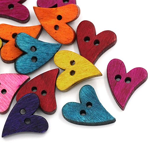 100PCS Kanggest Mixed Random Color Heart Shape 2 Holes Wood Wooden Buttons for Sewing Crafting