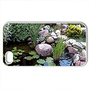 BACKYARD WATER GARDEN - Case Cover for iPhone 4 and 4s (Watercolor style, White)