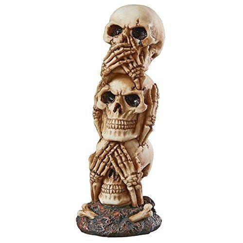 See-No, Hear-No, Speak-No Evil Skeleton Totem Statue: Medium - Skeleton Figure - Zombie Statue