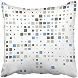 I DO Pillow Covers Print White Abstract Squares Blue Technology Pattern Box Brick Celebration Checking Color Composition Polyester Zippered Square Pillow Case For Home Bed Couch Sofa