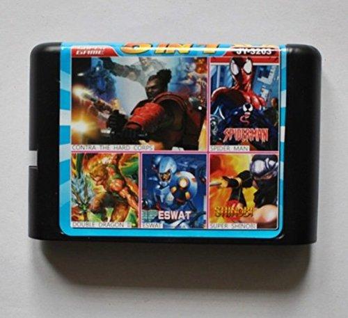 Taka Co 16 Bit Sega MD Game Contra Hard Corps/ Spiderman/ Double Dragon 2/ ESWAT/ Super Shinobi 16 bit MD Game Card For Sega 16bit Game Player