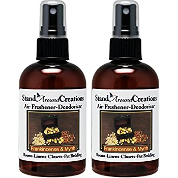 Set Of 2   Highly Concentrated Air Freshener/Room Deodorizer Sprays For  Cars/Bath Rooms/Pet Bedding/Linen Closets/Etc. Scent: Frankincense And  Myrrh 4 Oz. ...