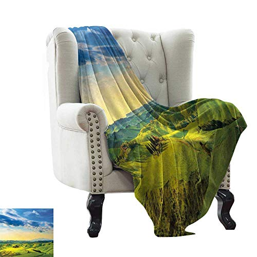 LsWOW Winter Warm Blanket Tuscany,Sunset in Tuscany,Rural Farm Cypresses Trees Sunlight Volterra Italy,Sky Blue Pale Green Blanket for Sofa Couch TV Bed All Season 50