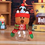 Gbell Kids Christmas Candy Jar Storage Bottle Ornaments Xmas Santa Snowman Bag Decorations Sweet Christmas Box Gift Toddler Boys Girls,7 x 17 cm