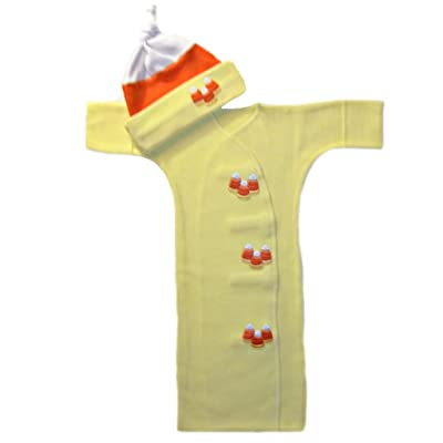 Jacqui's Unisex Baby Candy Corn Halloween Gown and Hat Set: Clothing