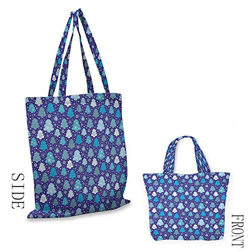 """Canvas bag WinterSnowflakes and Silhouettes of Christmas Pine Trees Sweet Christmas Violet Blue Pale Blue White18""""W x 16""""H"""