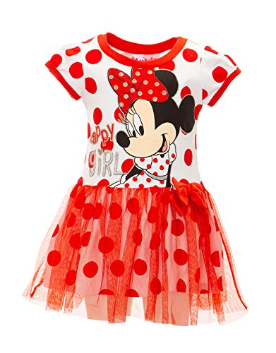 Disney Toddler Girls' Minnie Mouse Tulle Dress, White with Red Polka Dots -