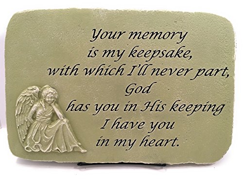 (Kay Berry Your Memory My Keepsake; Memorial Stone Sympathy Gift Angel; 10x15 English Ivy; With Stand)