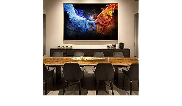 Wieoc Fuego Y Hielo Amor Pop Art Canvas Home Wall Cuadros Decorativos Dedos Pinturas De Lienzo Impresiones Artísticas para La Decoración De La Sala De Estar 60X90Cm: Amazon.es: Hogar