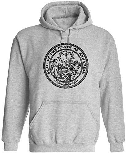 Arkansas State Seal Unisex Adult Hooded Pullover Sweatshirt, Ash, S