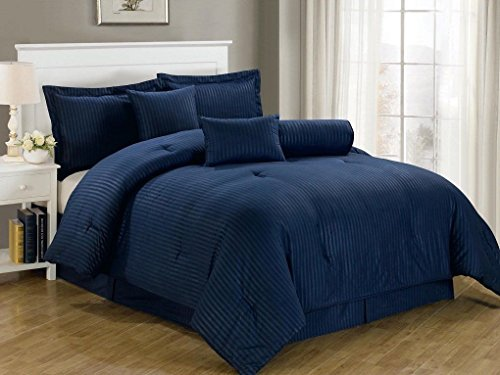 Chezmoi Collection 7-Piece Hotel Dobby Stripe Comforter Set, Queen, Navy Blue