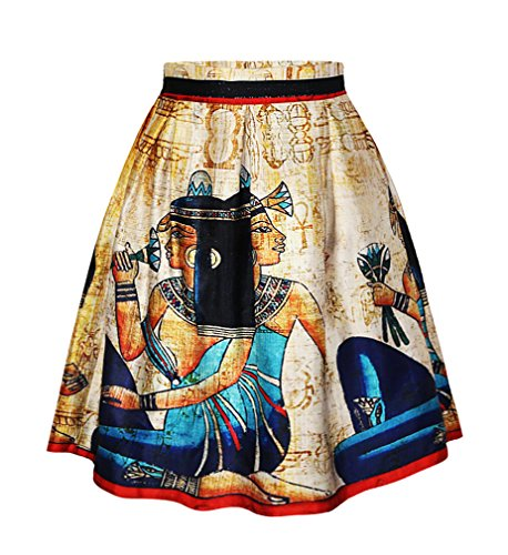 Pretty321 Women Girl 3D Retro Mural Vintage Zipper Pleated Midi Knee High Skirt Amazon