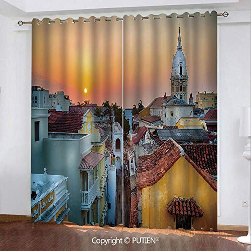 Satin Grommet Window Curtains Drapes [ Sunset,View over the Rooftops of the Old City Cartagena Cathedral Colombian Coast Picture Decorative,Multicolor ] Window Curtain for Living Room Bedroom Dorm Roo ()