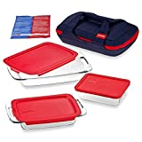 Pyrex Portables 8-Piece Insulated Dish Carrier Bag, 2-Qt, 3-Qt Easy Grab Oblong Baking Dish, 6-Cup Rectangular Dish Set