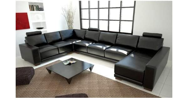 Amazon.com: Tosh Furniture Modern Black Leather Sectional ...