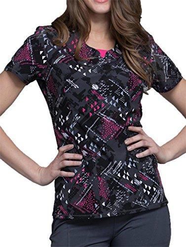 Cherokee Infinity Women's Round Neck Geometric Print Scrub Top Small Print, Textured Triangles ()