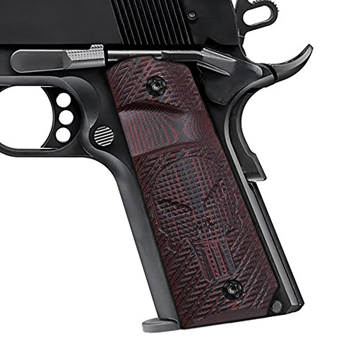 1911 Full Size Grips, Free Screws included, Cherry Color G10, Big Scoop, Ambi Safety Cut, Skull Texture, Cool Hand Brand, H1-SK1B-6