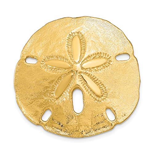Solid Polished 14k Yellow Gold Sand Dollar Omega Chain Slide Pendant 35x35mm ()