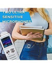 Dictopro Grabador de voz activado digital, grabación con micrófono doble en HD, 8 GB de memoria, cancelación de ruido, dictáfono con caja, de metal, de primera calidad