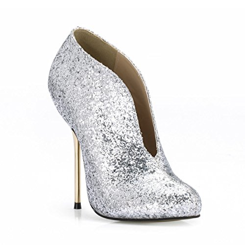 Women shoes temperament and winter new stylish high-heel shoes silver ankle shoes Silver p5v2y