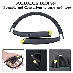 Bluetooth Headset, Wireless Neckband Foldable Sports Headphones Earphones with Retractable Earbud and Built-in Noise Cancelling Mic for iPhone, Android, Other Bluetooth Enabled Devices