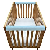 Go Mama Go Organic Teething Guard Protects Baby and Crib, Blue/White, 30'' x 12'' Set