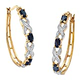 Oval-Cut Genuine Midnight Blue Sapphire 18k Yellow Gold-Plated X & O Hoop Earrings