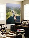 Panama, Panama Canal, Container Ships in Gatun Locks Wall Mural by Jane Sweeney 48 x 72in