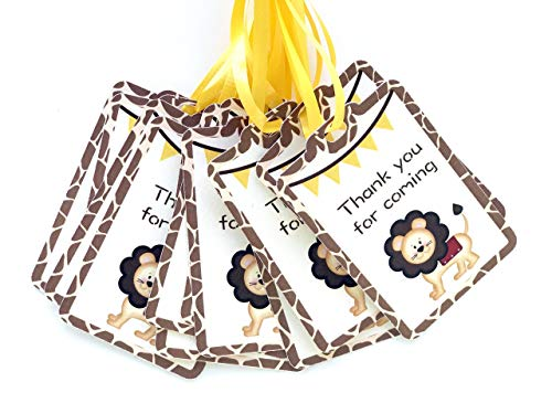 (Lion Thank you Tags 12 pcs, Zoo Favors Birthday Decoration Party Supplies, Neutral Baby Shower Themed)
