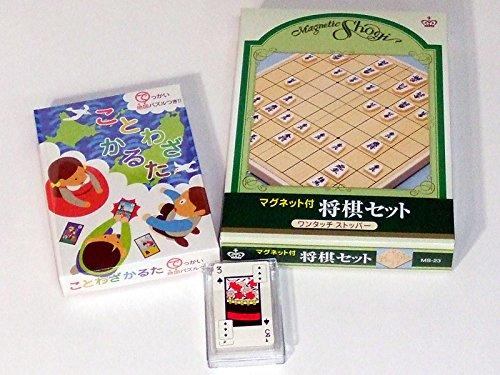 日本伝統のゲームセットその三【ことわざかるた+将棋セット+花札付トランプ】
