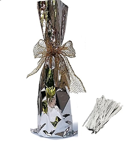 20 / Tall Wine Bags/Twist tie, Metallic Mylar Bottle Size 6-1/2