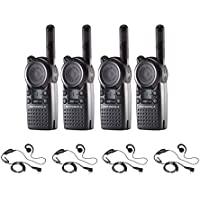 4 Pack of Motorola CLS1110 Radios with 4 Push To Talk (PTT) earpieces.