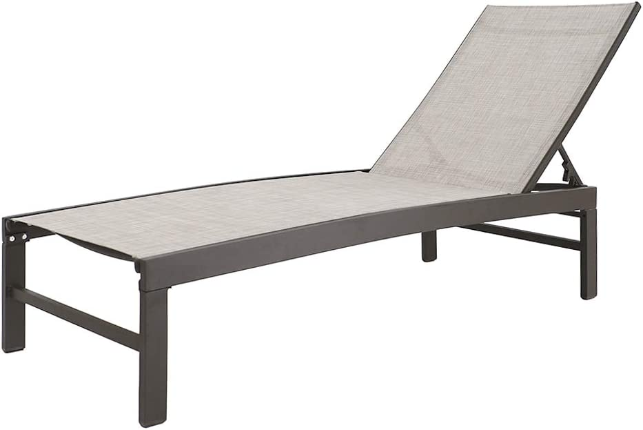 Crestlive Products Aluminum Adjustable Chaise Lounge Chair Outdoor Five-Position Recliner, Curved Design, All Weather for Patio, Beach, Yard, Pool (Beige)