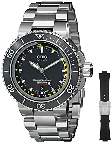 (Oris Men's 73376754154SET Analog Display Automatic Self Wind Silver Watch with Extra Black)
