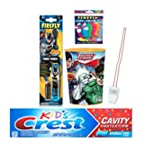 Justice League Inspired 3pc Oral Care Bundle! Batman Powered Toothbrush, Crest Kids Cavity Protection Sparkle Fun Toothpaste & Mouthwash Rinse Cup Plus Flossers &Tooth Necklace as Visual Aid Reminder!