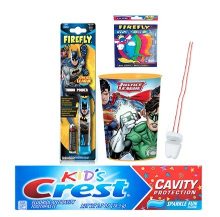 Justice League Inspired 3pc Oral Care Bundle! Batman Powered Toothbrush, Crest Kids Cavity Protection Sparkle Fun Toothpaste & Mouthwash Rinse Cup Plus Flossers &Tooth Necklace as Visual Aid Reminder! by Justice League and Crest