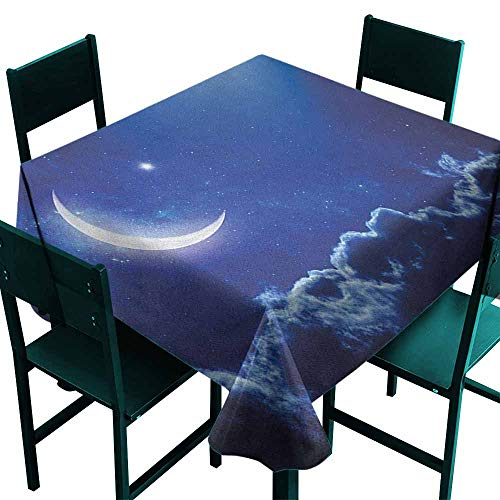 Warm Family Night Oil-Proof and Leak-Proof Tablecloth Crescent Moon in Dark Blue Sky with Vibrant Stars Celestial View Midnight Image Indoor Outdoor Camping Picnic W54 x L54 Royal Blue White