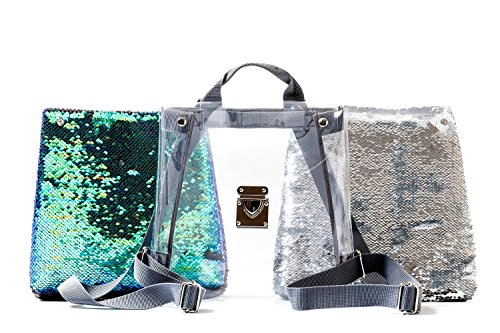 Designer Mix & Match Unique 2 in 1 Mini Backpack, Silver Glitter and Green-Blue Sparkly Small Women's Trendy Versatile Backpack ()