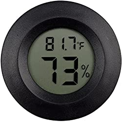 2 Pack Digital Reptile Thermometer Switchable Celsius Fahrenheit Lizard Spider Tortoise Terrarium Tank Hygrometer (Black)