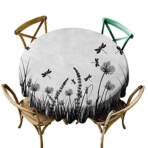 StarsART Rectangle tablecloths Nature,Grass Bush Meadow Silhouette with Dragonflies Flying Spring Garden Plants Display, Black White D70,Round Tablecloth