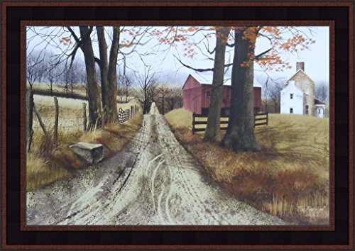 The Road Home by Billy Jacobs 15x21 Barn Country Dirt Road Farm Rural Primitive Folk Art Framed Print (Folk Art Farm)