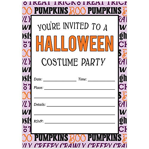 Teen Costume Party Halloween Invites & Envelopes (Pack of 50) Fun Dress Up Celebration Large Blank 5x7