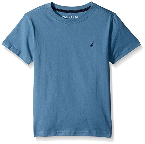- Nautica Boys' Short Sleeve Solid Crew-Neck T-Shirt, Coast Medium Blue, Large (14/16)