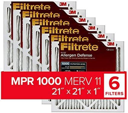 Filtrete MPR 1000Micro Allergen Defense AC Ofen Air Filter, 21x 21x 1, 6er Pack