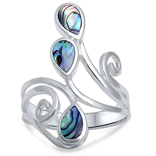 - Abalone Shell .925 Sterling Silver Ring Size 7