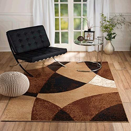 (SUMMIT BY WHITE MOUNTAIN New Chateau S11 Beige Abstract Modern Abstract Style Area Rug (5' X 7' Area Rug) )