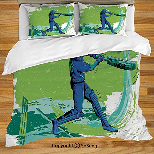(Sports Queen Size Bedding Duvet Cover Set,Cricket Player Pitching Win Game Champion Team Paintbrush Effect Decorative 3 Piece Bedding Set with 2 Pillow Shams,Navy Blue Turquoise Lime Green)