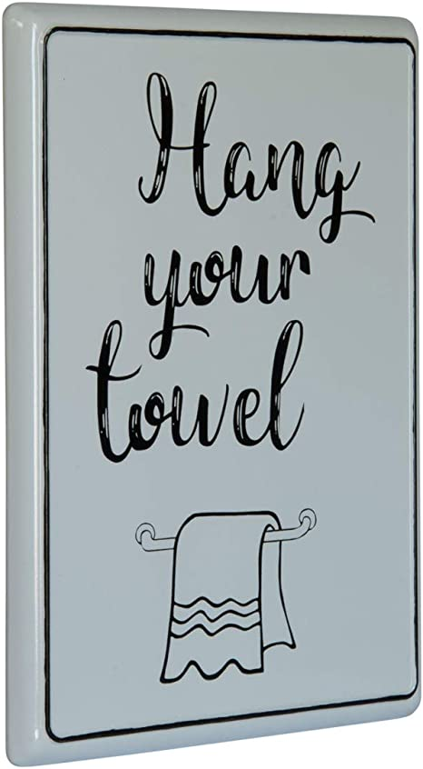 Amazon Com Vipssci Hang Your Towel Sign White Metal Bathroom Wall Art Restroom Sign Home Kitchen